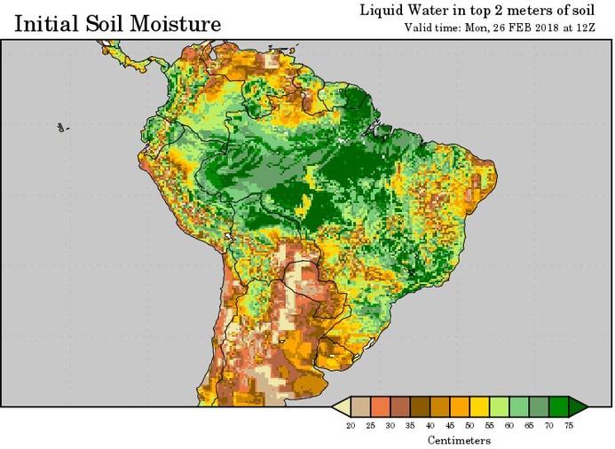 Humidité des sols en Argentine au 26 02 2018